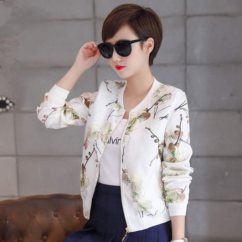 Spring   Jacket   Women Print Short Coat Women Fashion Slim Casual Cardigan Bomber   Jacket   Abrigo Women   Basic     Jackets   Outerwear C5337