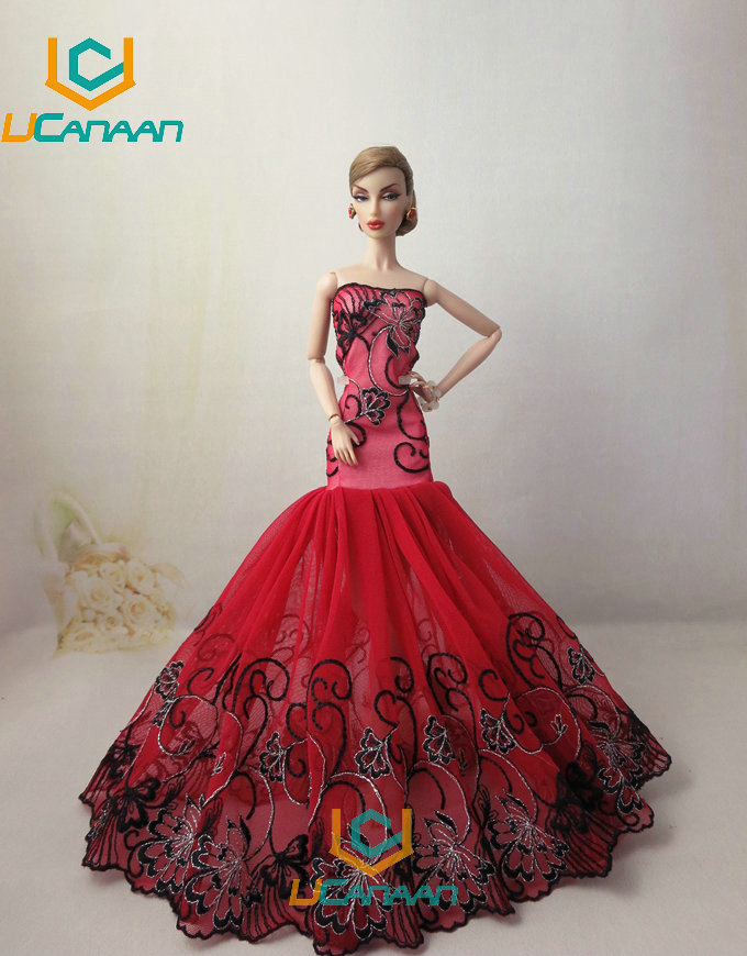 Not Include the Doll ! Ucanaan 1 PC RED Fishtail Gown For Barbie Doll Restricted Assortment Elegant Handmade Gown Garments Presents