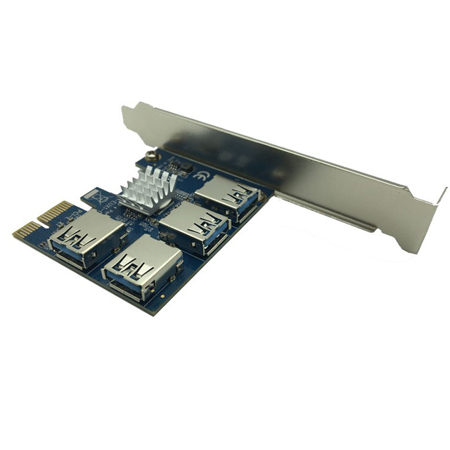 Cryto Currency Mining PCI-E to PCI-E Adapter 1 Turn 4 PCI-Express Slot 1x to 16x USB 3.0 PCIe Converter