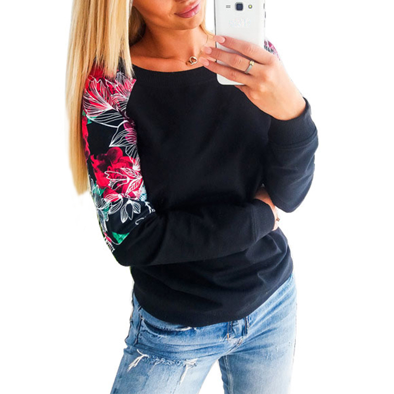 Autumn Winter Women Hoodie Sweatshirt 2018 Floral Patchwork Casual Sweatshirt Raglan Sleeve Pullovers Pull Femme SJ460E