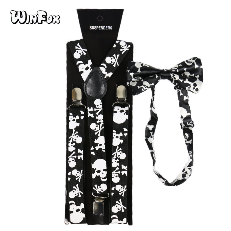 Winfox Vintage Black White 2.5cm Wide Skull Suspenders Bowtie Brace Women Men
