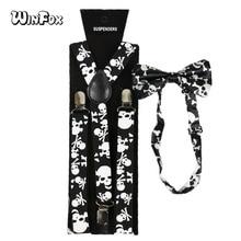 Winfox Vintage Black White 2.5cm Wide Skull Suspenders Bowtie Brace Women Men
