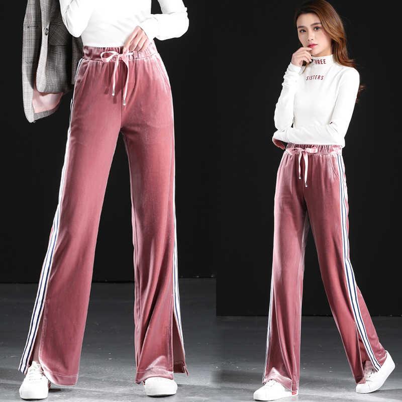 3437cfe8fafe Женские золотые бархатные свободные штаны женские прямые брюки с высокой  талией с эластичной талией широкие брюки