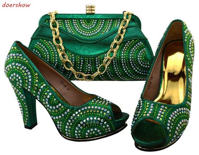 Doershow Hot Koop Afrikaanse Dames Schoenen En Tas Set Overeenkomen Mode Afrikaanse Hoge Hakken Met Purse Online BCH1-56