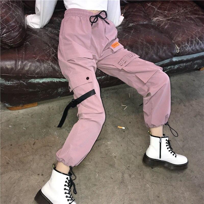 Harajuku Women'S Pants 2018 Autumn Korean Style Hip Hop Panter Multi Pocket Ladies Elastic Waist Cargo Pants Elegant Female