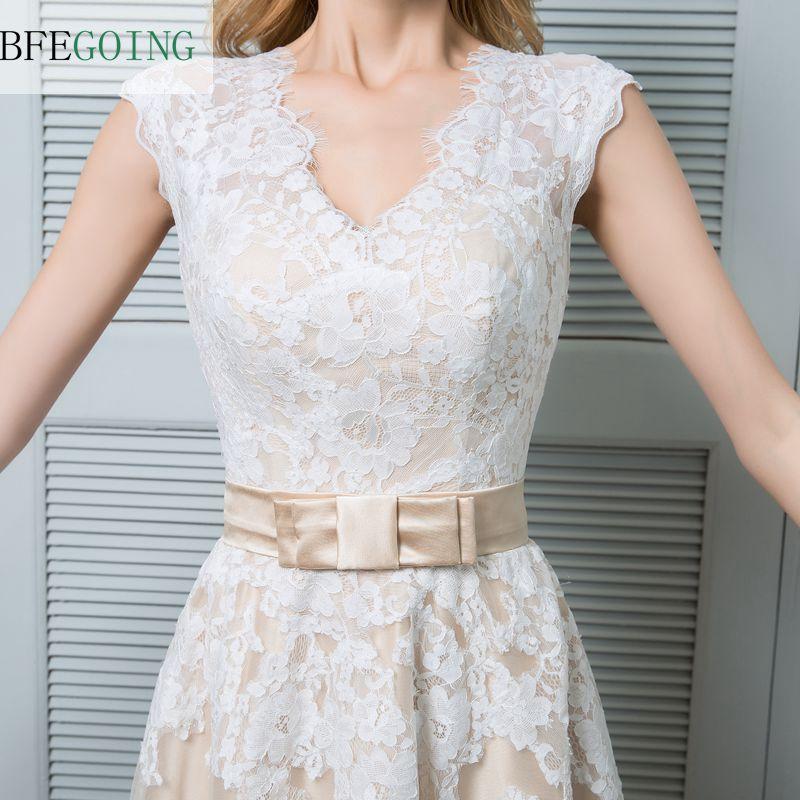 Champagne Ankle-length V-neck Lace Satin Tulle A-line Wedding Dress
