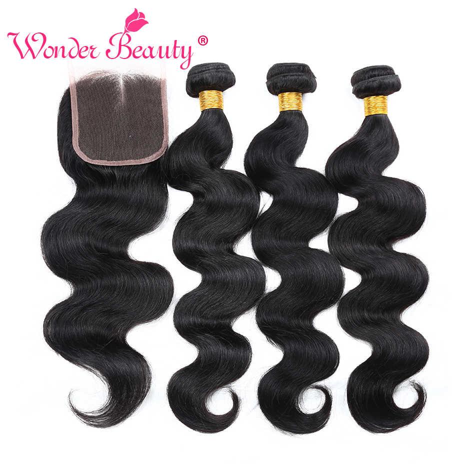 תוספות שיער גל גוף ברזילאי 4 חבילות עם סגירה מותאם אישית 8-26 Inches 5 bundle דיל שיער אדם אריגת משלוח חינם