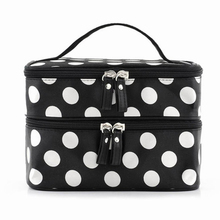 Black Large Capacity Cosmetic Bag Woman Dots Portable Storage Makeup Bags Canvas Beauty
