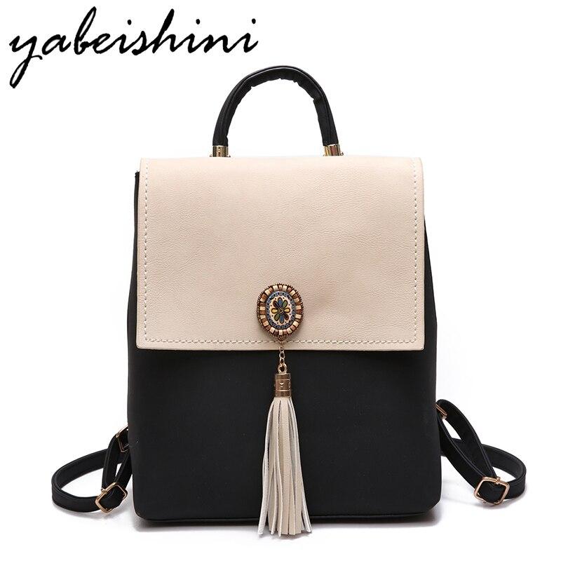 YABEISHINI Mädchen Schultaschen Für Jugendliche Frauen Kleinen Rucksack Schwarz Leder frauen Rucksäcke Mode Weibliche Rucksäcke