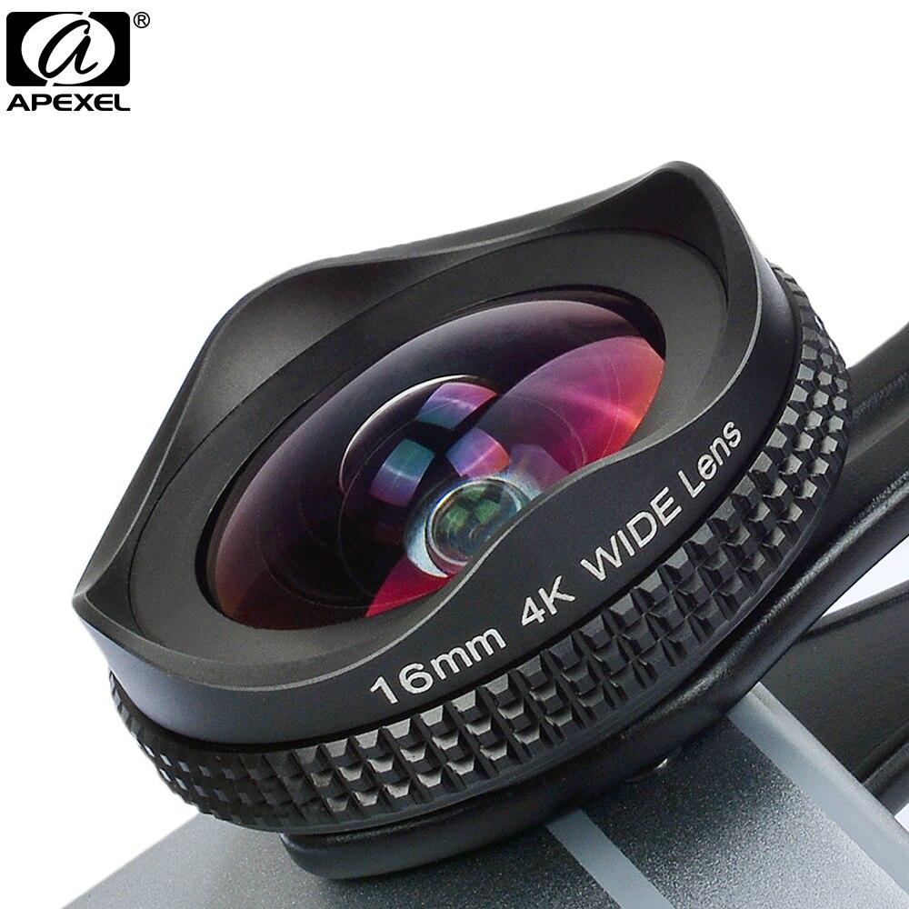Apexel pro lente da câmera kit 16mm 4k lente grande angular com cpl filtro universal hd lente do telefone móvel para iphone 7 6 s plus xiaomi