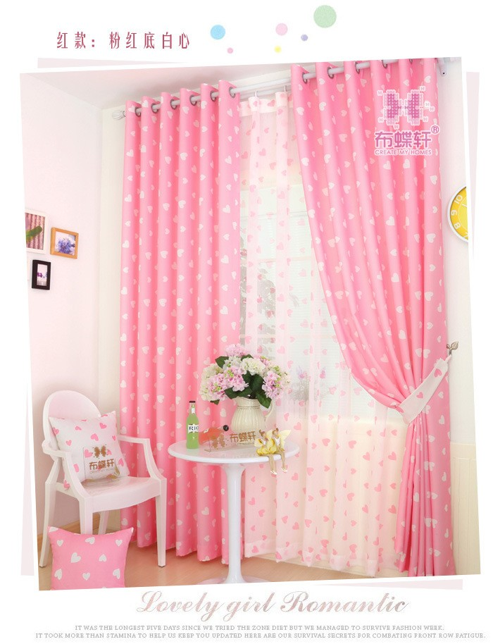 Romantic Princess Style Pink Blackout Sheer Window Curtains For Living Room Kids Girls Bedroom Curtains