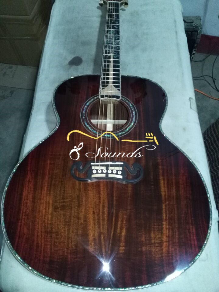 free shipping free hardcase custom handmade guitar AAAAA all solid wood jumbo acoustic electric guitar musiclily 3ply pvc outline pickguard for fenderstrat st guitar custom