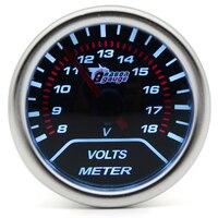 2 52MM Universal Volt Meter Car Gauge 8 18 Volts Voltage Meter Auto White LED