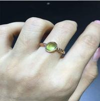 Unisex Natual Prehnite Ring Free shipping Natural real Prehnite Ring 925 sterling silver Gem Size 6*8mm