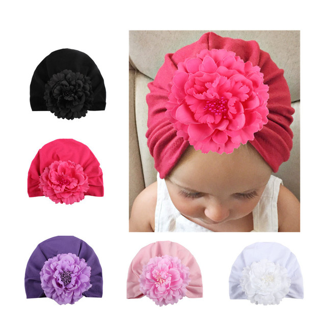 d4f31a9a4a1 Newborn Baby Girls Hat Cotton Spring Autumn Big Flower Cap Kids Hats Infant  Toddler Solid Soft Head Hats Photography Props Caps