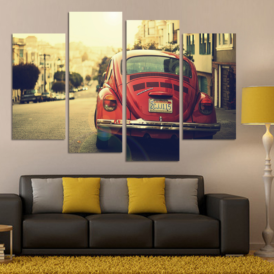 No Frame 4 Panels Classic Sports Car Wall Art Picture Cool Orange Reflective HD Canvas Painting For Living Room Decoration
