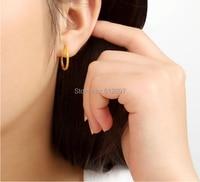 Solid 24k Yellow Gold Hoop Earring/ Lucky Circle Hoop Earring / 1.99g