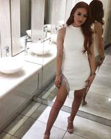 Fashion Sexy White O Neck Bandage Summer Dress Tank Beading 2019 Elegant Bodycon Designer Party Dress
