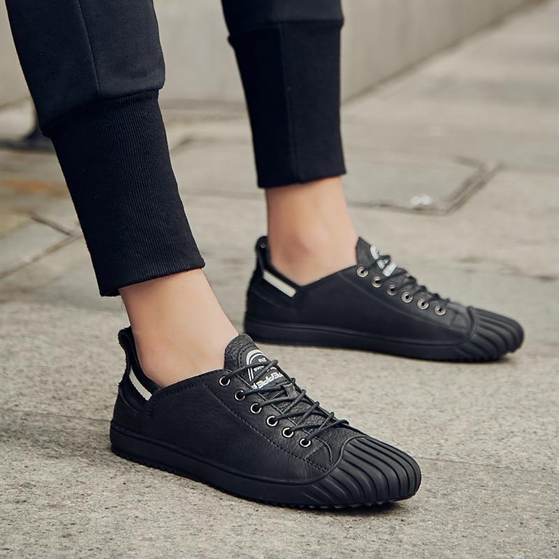 Hommes Véritable De automne Cuir En Nouvelle Chaussures Occasionnels Main Respirant Printemps Marque Doux Appartements Arrivée White black Noir qCEPSdcq