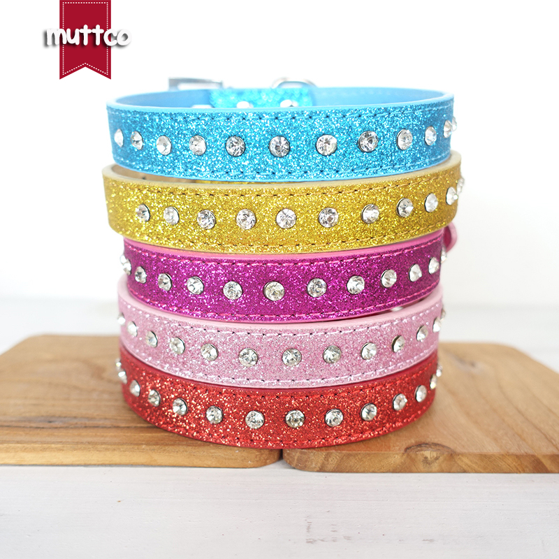 50pcs/lot personalized high quality dog collars cover glitter powder and a row of crystal drill dog collar square buckle CS038P