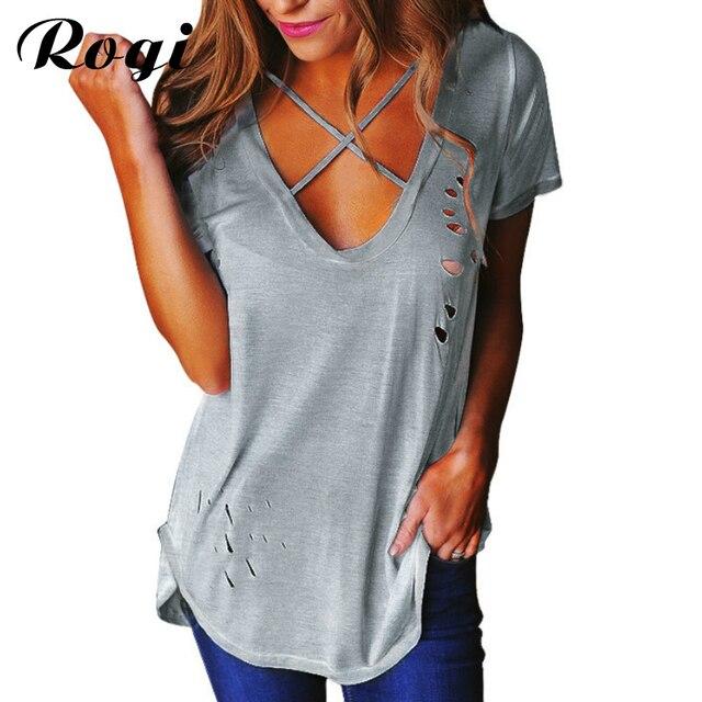 Rogi Sexy Holes Summer T-Shirt Women 2017 Cross V Neck Ripped T Shirts Bandage Loose Basic Female Tee Tops Blusas Camisas Mujer