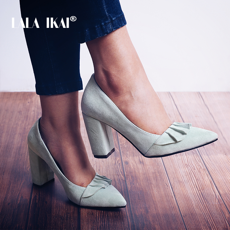 LALA IKAI Women Ruffles Pumps Suede Pointed Toe Square Heel Slip-On Sweet Party Stilletto Solid Ladies Pump Heels 014A2040 -4 другие sweet lala