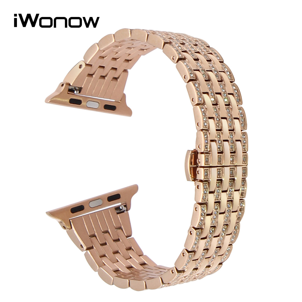 купить Rhinestone Diamond Watchband for 38mm 40mm 42mm 44mm iWatch Apple Watch Series 4 3 2 1 Stainless Steel Band Wrist Strap Bracelet по цене 1978.59 рублей