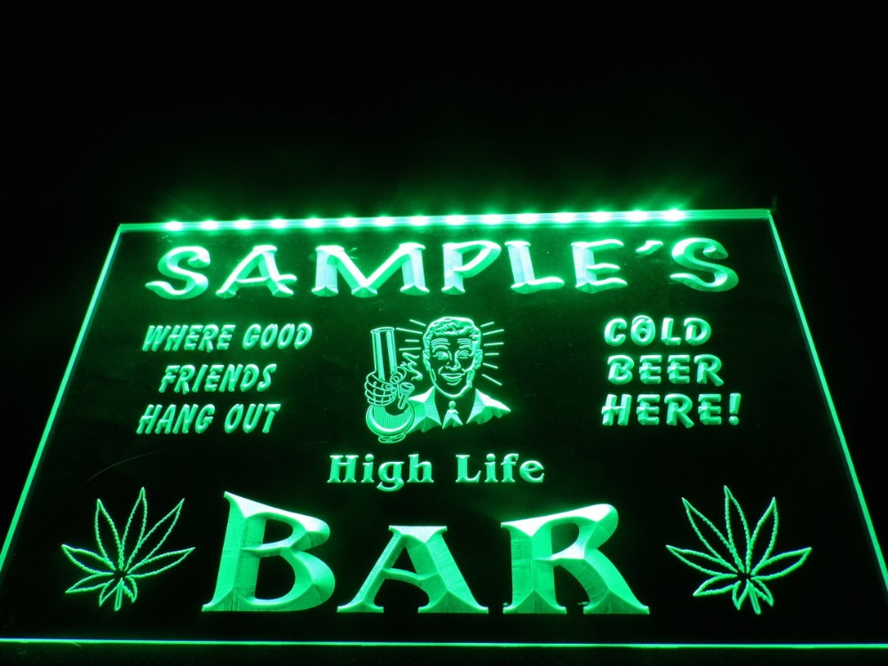 DZ082 Name Personalized Custom Hemp Leaf High Life Bar