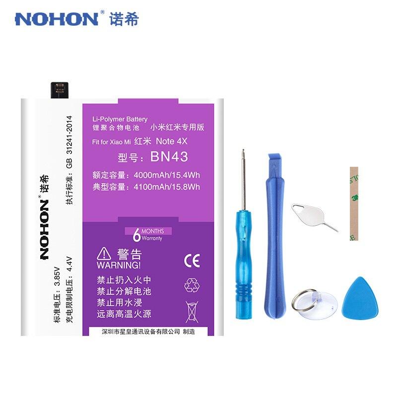 NOHON BN30 BN40 BN41 BN43 BN44 Pour Xiaomi Redmi 4A 4 Pro Note 4 4X5 Plus La Batterie Réel haute Capacité De Remplacement Bateria