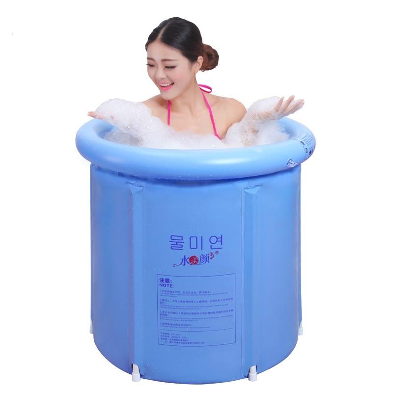 Woda piękna Jasnoniebieska składana wanna balia wanna nadmuchiwana - Artykuły gospodarstwa domowego - Zdjęcie 3