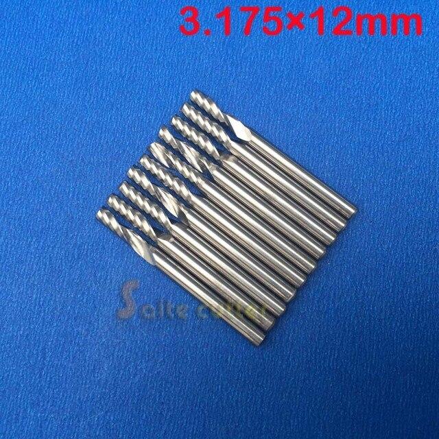 10 pçs/lote 1/8 de alta qualidade cnc bits única flauta espiral roteador carboneto end mill cortador ferramentas 3.175x12mm