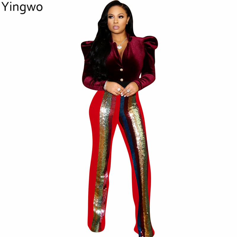 b7535af5c32e Colorful Sequined Striped Patchwork Fashion Women High Waist Bottoms  Hottest Night Out Club Wear Full-length Bling Pants Online