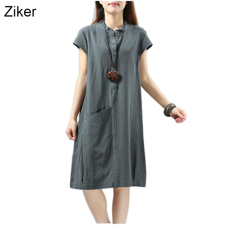Ziker Brands New Fashion Solid Cotton Linen Women Dresses Slim Loose Casual A-Line Dress vestidos M-XXL