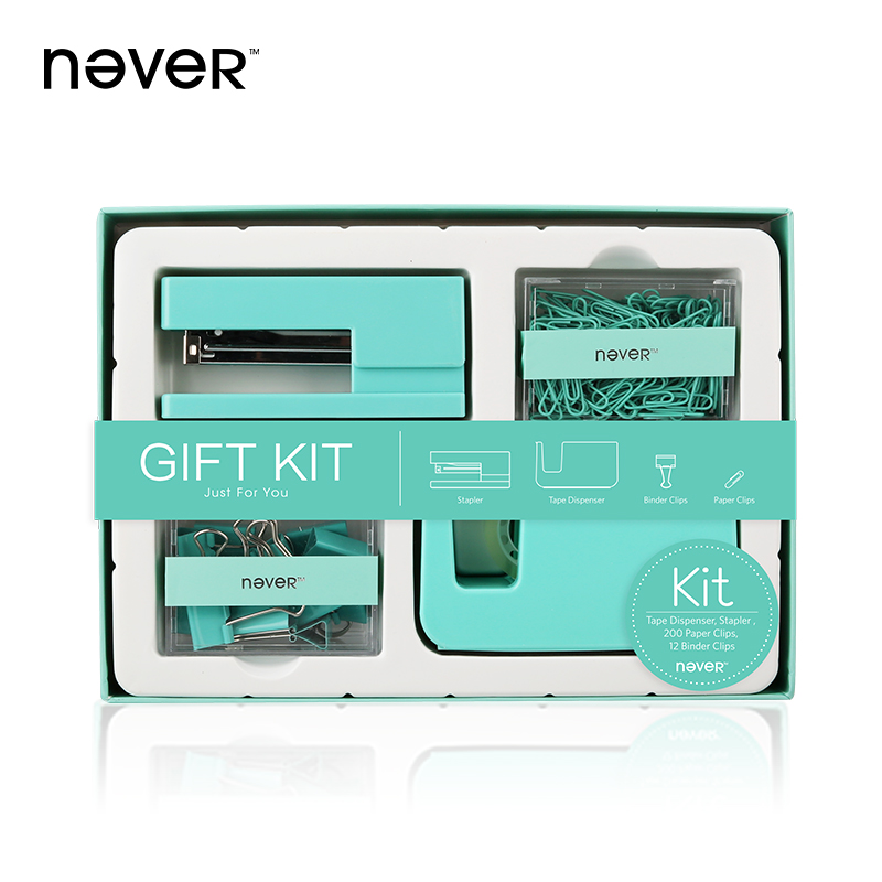 Never Office Gift Kit Acrylic Stapler Tape Dispenser Paper Clip Binder Clip Stationery Set Creative Business Gift Set Stationery kitlee40100quar4210 value kit survivor tyvek expansion mailer quar4210 and lee ultimate stamp dispenser lee40100