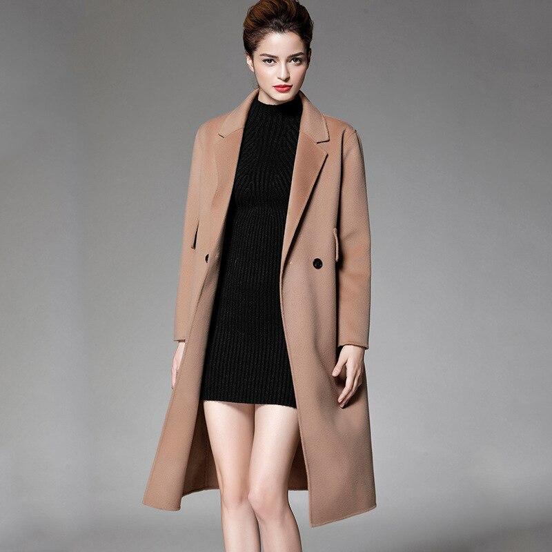 Les états-unis double manteau qui retournent saison long manteau en tissu vêtements pour femmes en laine tissu en cachemire manteau en laine