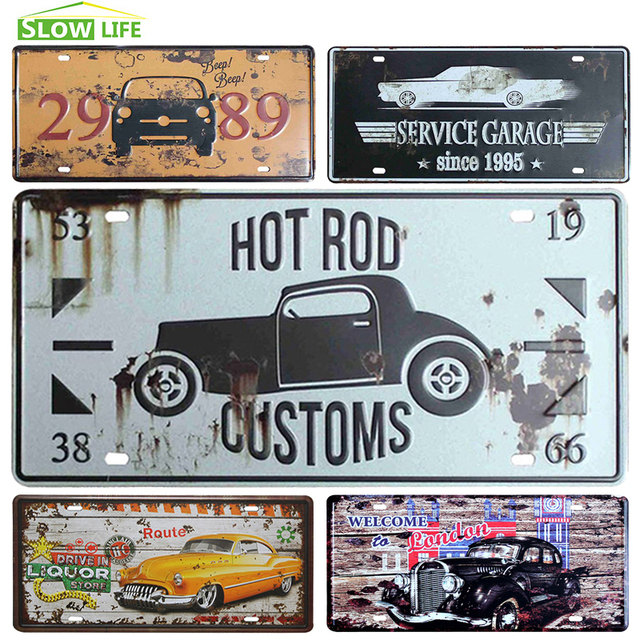 Hot Rod Car Metal License Plate Vintage Home Decor Tin Sign Bar Pub Decorative