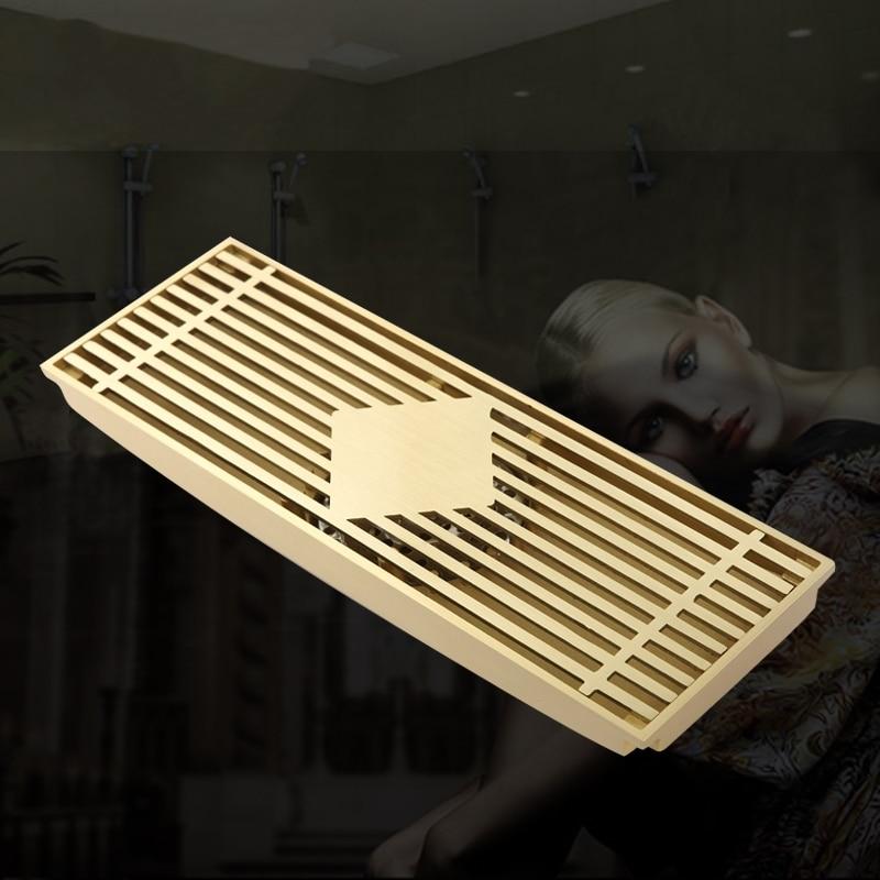 300*100mm new Large flow large-traffic solid brass golden bathroom shower square floor waste drain