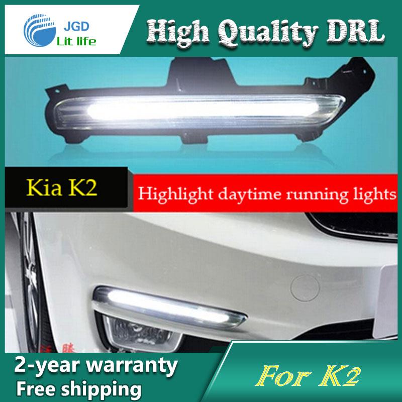 Free shipping 12V 6000k DRL LED CAR light DRL Daytime Running Lights For KIA RIO K2 2015 with fog lamp hole 10 led car styling drl for kia k2 rio 2011 2012 2013 2014 daytime running lights high quality free shipping