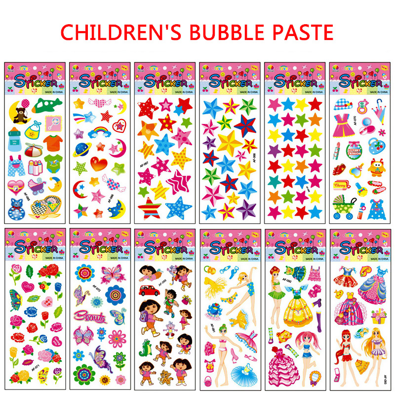 Bubble Stickers Teacher PVC 3D Kids 10Sheets/Lot Wall Stickers Many Patterns Hot Sale Re ...