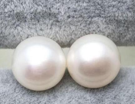 free shipping Perfect 14 15mm WHITE South Sea Pearl Earring 925 silver