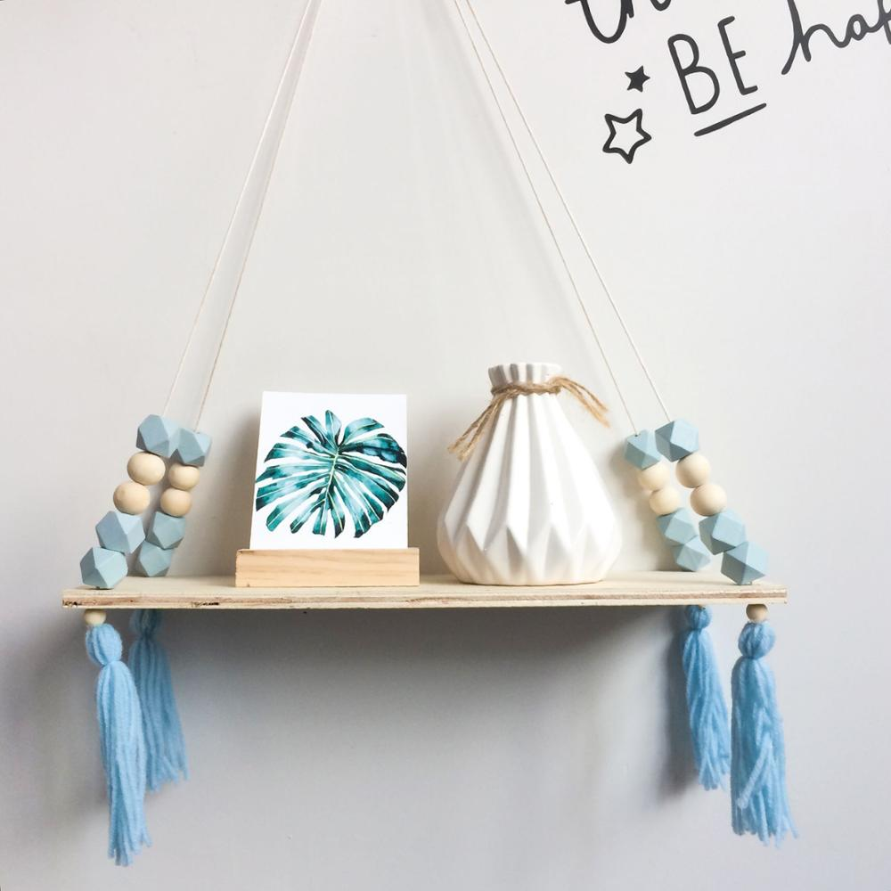 Scandinavian Wood Shelving Children's Room Octagonal Beads With Tassel Wall-Mounted Nordic Wall Shelf Baby Daughter Photographs