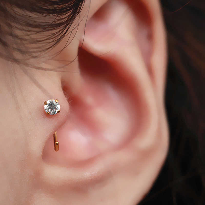 1 Pcs คริสตัล Tragus ต่างหูผู้หญิง PUNK ขนาดเล็กกระดูกอ่อน Helix Hoop ต่างหูหูเจาะ boucle d'oreille femme 2019