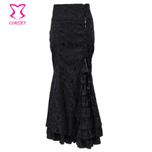 Corzzet Black Brocade Long Mermaid Steampunk Skirt High Waist Vintage Fishtail Lace-Up Slim Trupet Gothic Skirt(China)