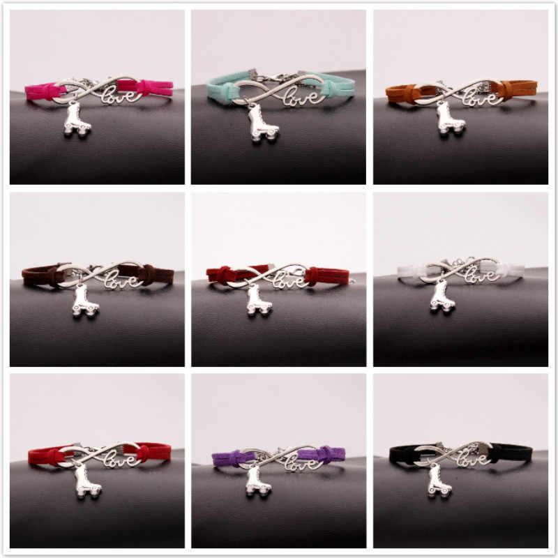 Pulseras de cuero NCRHGL Infinity Love brazaletes zapatos de patinaje pulsera trenzada 2018 Nueva joyería para Mujeres Hombres Envío Directo