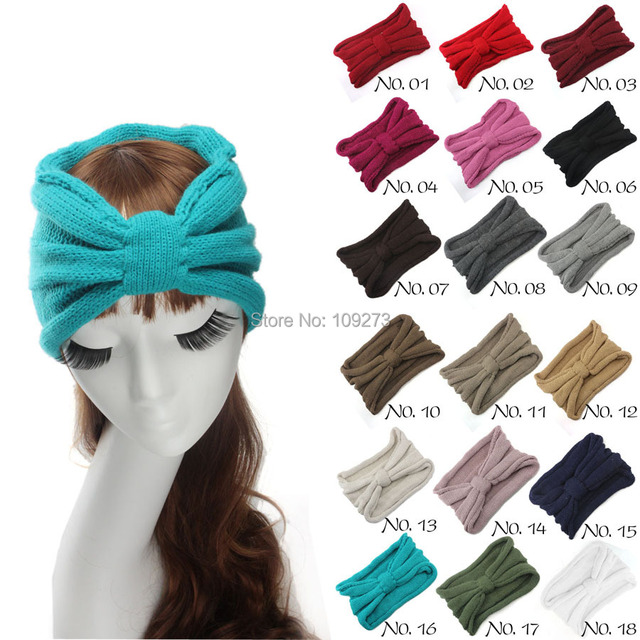 18 colores turbante diadema Women moda otoño invierno nudo de punto ...