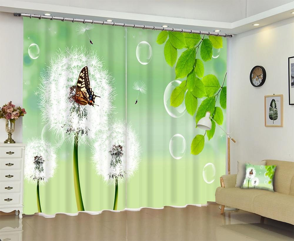 Personalizzato Blu Dente di Leone Verde Cinese 3D Blackout Tenda di Finestra Tende Per soggiorno camera da Letto Hotel Arazzo Da Parete Cortinas