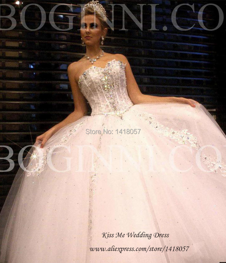 Fashionable Sweetheart Ball Gown Wedding Dresses Lace Crystals ...
