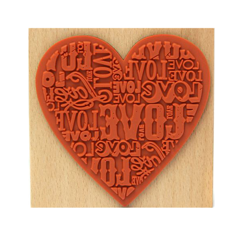 New Heart Shaped Wooden Stamps Blocks Rubber Craved Printing Stamp Scrapbooking Decor 9cm * 9cm * 1.8cm Rubber stamp the classic 90s collection cd