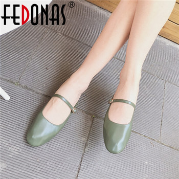 FEDONAS 2019 Vintage Sheepskin Mary Janes Classic Round Toe Shallow Buckle Women Pumps Summer Sweet Sandals Basic Shoes Woman