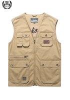 Men's Vest Plus Size L~5XL Clothes 2019 Spring Sleeveless Jackets Multi Pockets Cotton Waistcoat Breathable Mesh Fishing Vest
